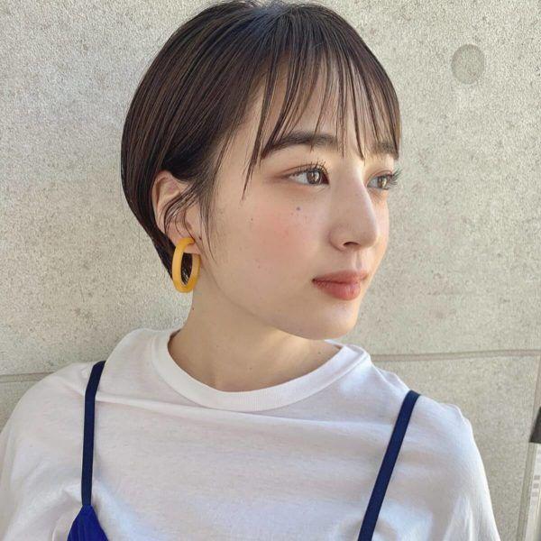 シースルー前髪 丸みショート 前髪 シースルー 韓国のショートヘア