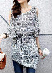 $7.22 Full Printed Retro Style Scoop Neck Asymmetric 1/2 Sleeve Blouse For Women