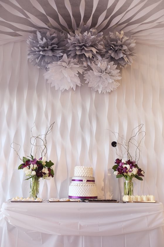 silver purple and white dessert table