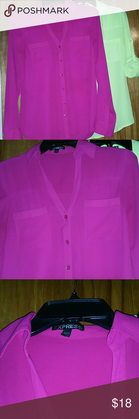 EXPRESS Silky Button Front Top in Hot Pink XS Brand new bright hot pink long sleeve silky top is extremely comfortable and goes with anything. You can shorten the sleeves like the other neon yellow top with taps and tie the front with jeans looks adorable. Purchased both because I love the colors, happy to bundle both shirts for discount. Both are brand new without tags from Express in the Barboursville Mall. Express Tops Button Down Shirts