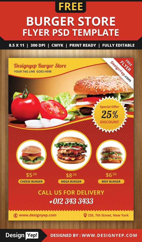 Free Burger Store Flyer Psd Template 1988 Desingyep Free
