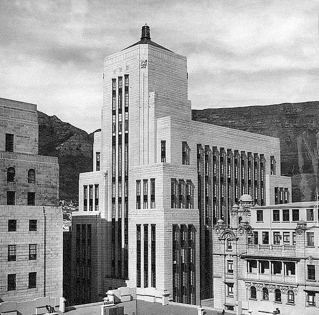Cape Town. Old mutual Building. The inside was amazing. Dark wood. Art deco. Incredible. Wish Id taken more notice :(
