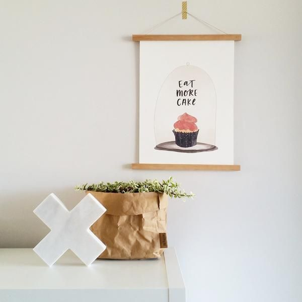 Eat More Cake print and wall hanger.  Australian made stationery by In the Daylight.