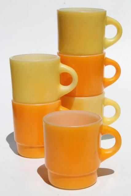 Vintage Fire King Gl Coffee Mugs Retro Orange Yellow Gold Color Milk