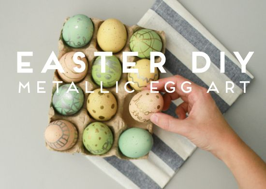 Easter eggs with metallic paint pens