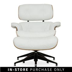 norman relax chair with footstool white