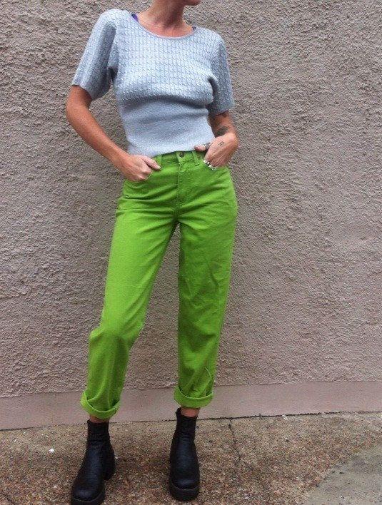 Slime lime green high waist jeans 90s 80s club kid by HEAVYxMENTAL
