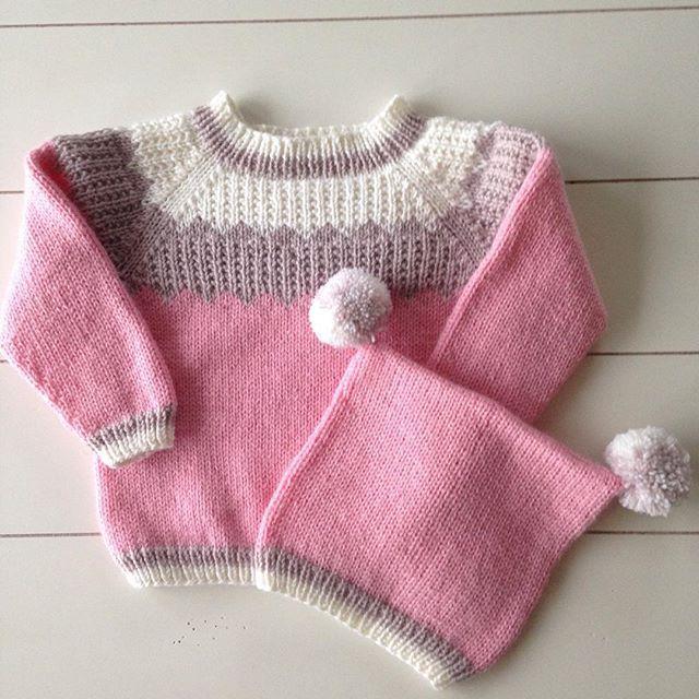 #jentesett #strikk #strikking #strikkesida #barnebarn #knit #knitting #babyull #mosvik