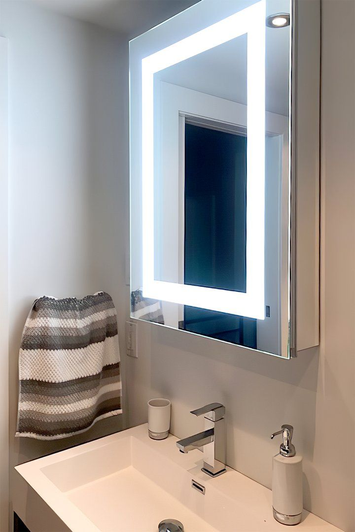 Lighted Led Bathroom Mirror Medicine Cabinet 24 Wide Wide X 32