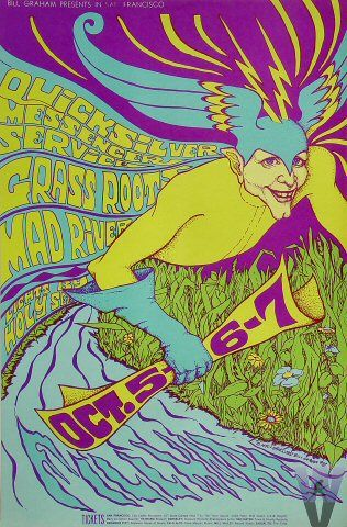 Classic rock concert psychedelic poster - Concert at the Fillmore Auditorium (Quicksilver Messenger Service; Grass Root; Mad River)