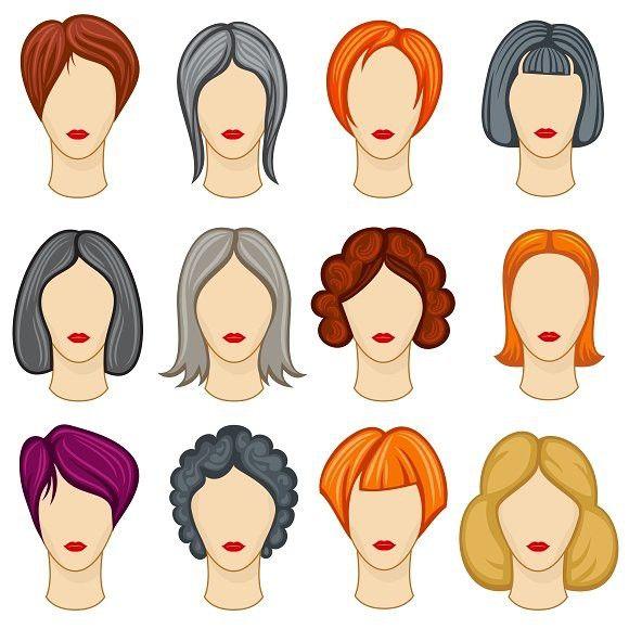 Womens Cartoon Hairstyle Set Hairstyle Cabelo De Desenho Animado Ilustracao De Cabelo Cabelos Feminino