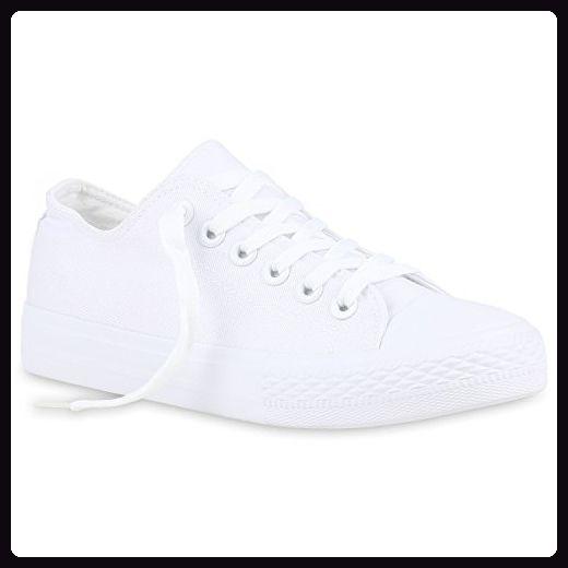 Damen Sneakers Sport Sneaker Low Denim Stoff Blumen Camouflage Schuhe 123351 Weiss 38 | Flandell® - Sneakers für frauen (*Partner-Link)