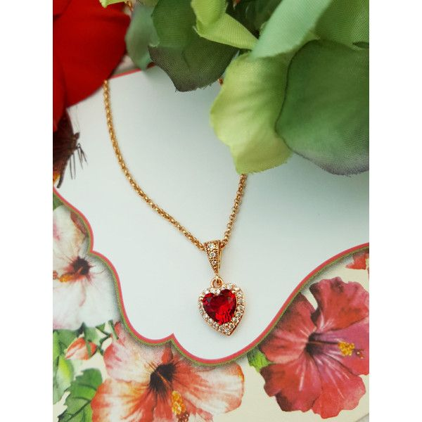 Red Heart Necklace, Rose Gold Heart, Romantic Gift, Ruby Birthstone,... ($30) ❤ liked on Polyvore featuring jewelry, necklaces, heart necklace, rose gold jewelry, ruby birthstone necklace, rose gold necklace and cz necklace