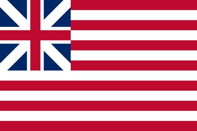 Grand Union Flag.   The first flag of the colonists to have any resemblance to the present Stars and Stripes. It was first flown by ships of the Colonial Fleet on the Delaware River. On December 3, 1775 it was raised aboard Capt. Esek Hopkin's flagship Alfred by John Paul Jones, then a navy lieutenant.