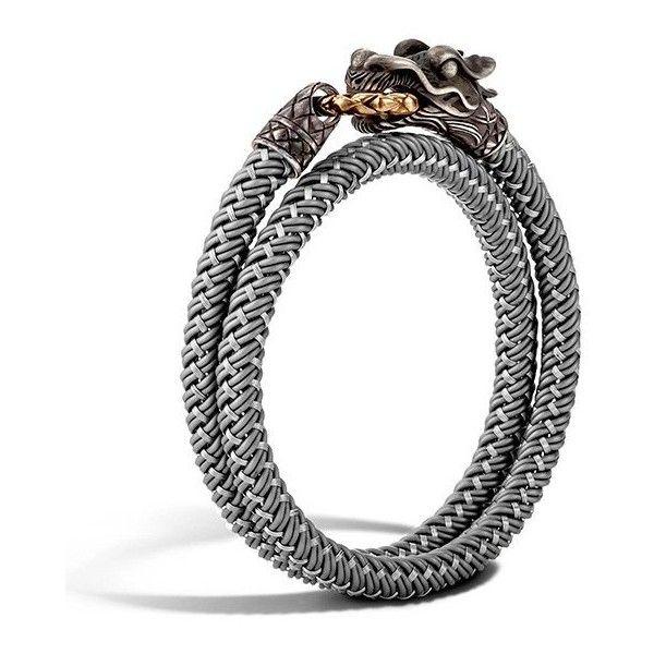 John Hardy Legends Naga Silver Cord Wrap Bracelet ($395) ❤ liked on Polyvore featuring men's fashion, men's jewelry, men's bracelets, john hardy mens bracelets, mens cord bracelets and mens silver bracelets