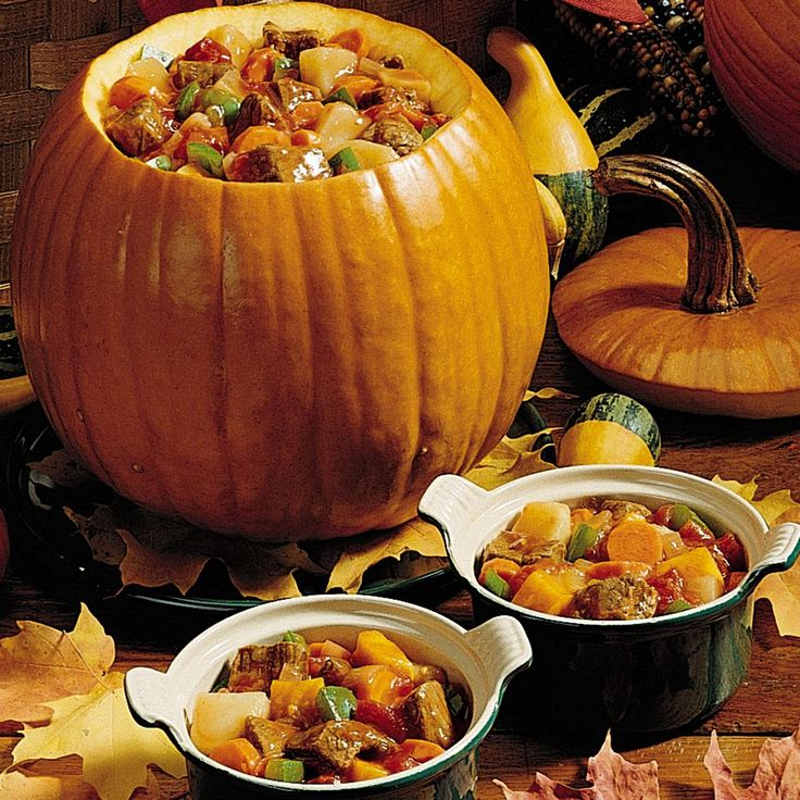 Pumpkin Stew Recipe -This special stew is the meal our two kids look forward to each fall because we only get to enjoy it when the fresh pumpkins come out of the garden. The stew is cooked and served right in the pumpkin shell. A true taste of autumn, it also makes a pretty presentation at a potluck. —Donna Mosher, Augusta, Montana