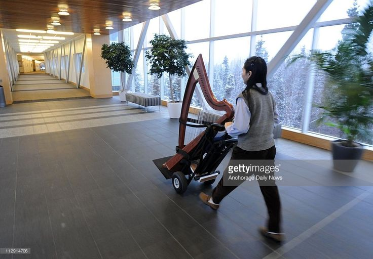 A modified handcart allows therapeutic musician Dr. Liu-Hsiu Kuo to move her harp and folding seat from venue to venue, on Wednesday, January 28, 2009, at Providence Alaska Medical Center in Anchorage, Alaska.
