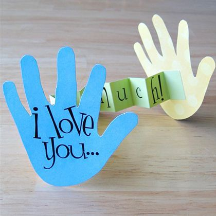 "An adorable 3D card with pop-out hands proclaiming ""I love you this much!"" Photo credit: A Day in My Life Use a Facebook account to add a c..."