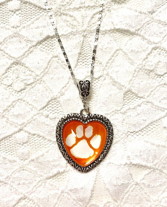 """Clemson Tiger Paw Necklece 925 Sterling Silver your choice 20"""", 22"""", 24"""", or 30"""""""