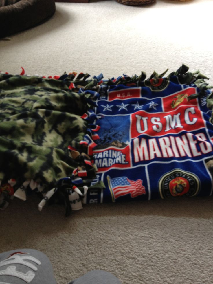 No sew blanket that I made for my boyfriend who is a really proud marine