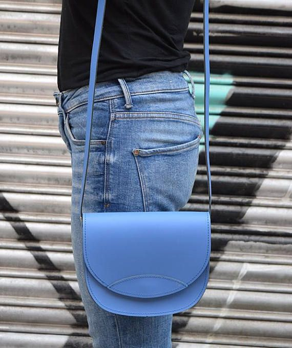Light Blue Leather Bag Oval Leather Bag Handmade Leather