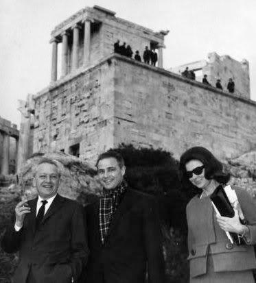 Marlon Brando with director Jules Dassin and secretary Alice Merchak visiting the Acropolis in Athens ~ 1958