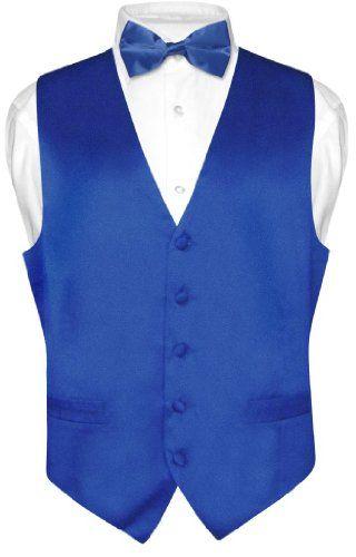 Biagio Men's Solid ROYAL BLUE SILK Dress Vest Bow Tie Set for Suit or Tuxedo - Sale:$27.95