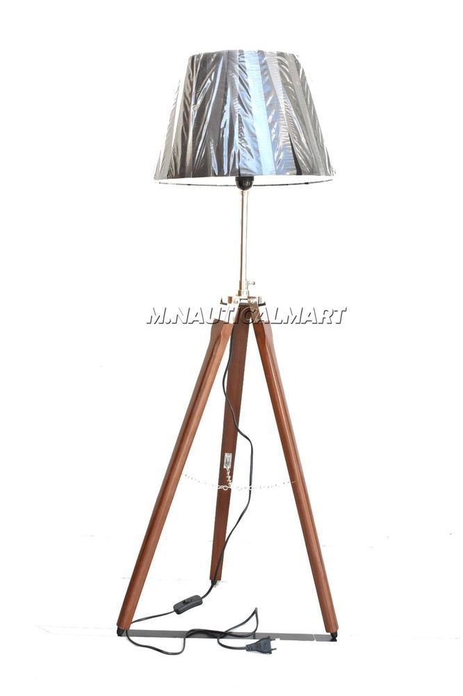 Nautical Floor Lamp Wooden Tripod Fully Handmade Royal Style Home