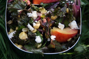 SUCCESS!  Kale, Peach, Corn And Feta Salad.  I did blanch the kale in boiling water for about 10 seconds and then rinsed it under cold water to make it a bit milder- it was delish, hubby went back for seconds, I was shocked.: Kitchens Window, Feta Picnics, Kale Salad, Feta Salad, Healthy Eating, Peaches, Picnics Recipes, Picnics Food, Corn