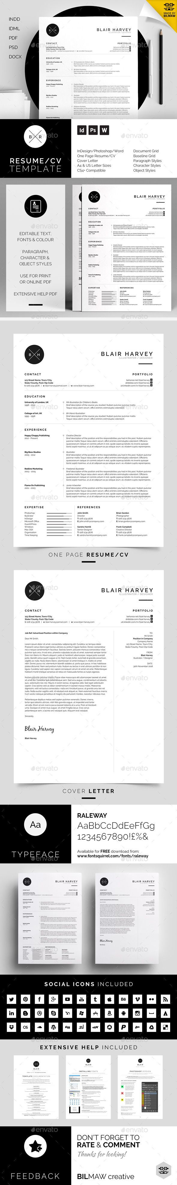 simple design focusing on experience, which includes a single page resume/cv and cover letter.  Download : http://graphicriver.net/item/resumecv-blair/11183416?s_rank=162&ref=pxcr