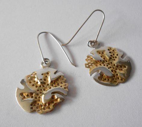 ESPONJAS DE MAR,Plata 925 y baño de oro  amarillo, BEATRIZUNIGA Diseño de joyas.