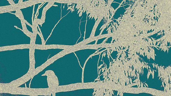 Kookaburra Outline Brilliant Blue Stretched Canvas by BlackbirdArtDesign