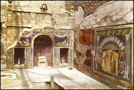 The house of Neptune in Herculaneum Italy.   A town  in AD 79 that was covered in mud during the eruption of Vesuvius