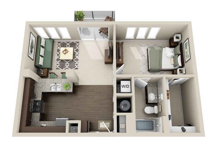 one bedroom apartment layouts - Google Search