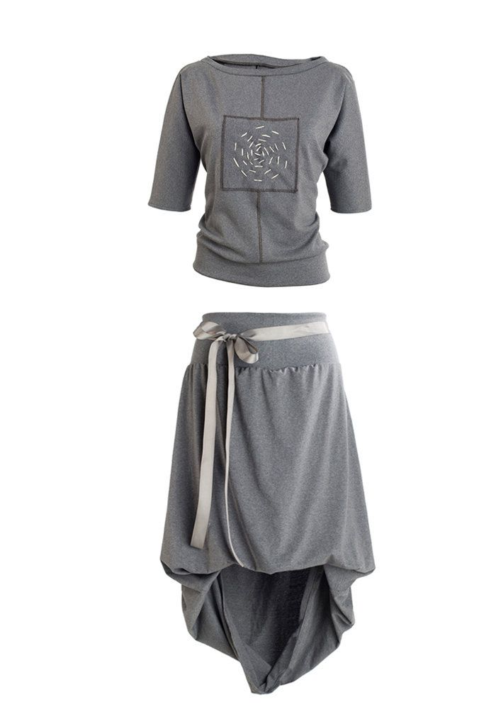 grey set, bluse, skirt, asymetrical,plus size, casual, loose, unique, for every day, by QuQuDesign on Etsy