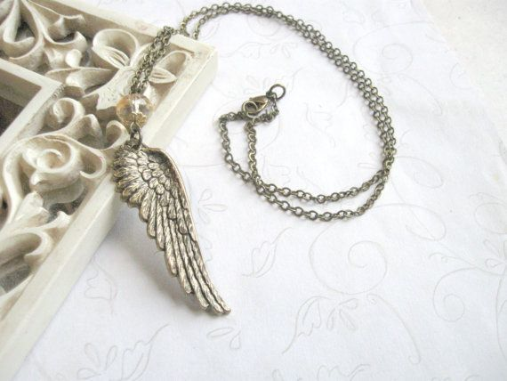 Angel Wing Necklace  brass   feathers  nature by botanicalbird, $20.00