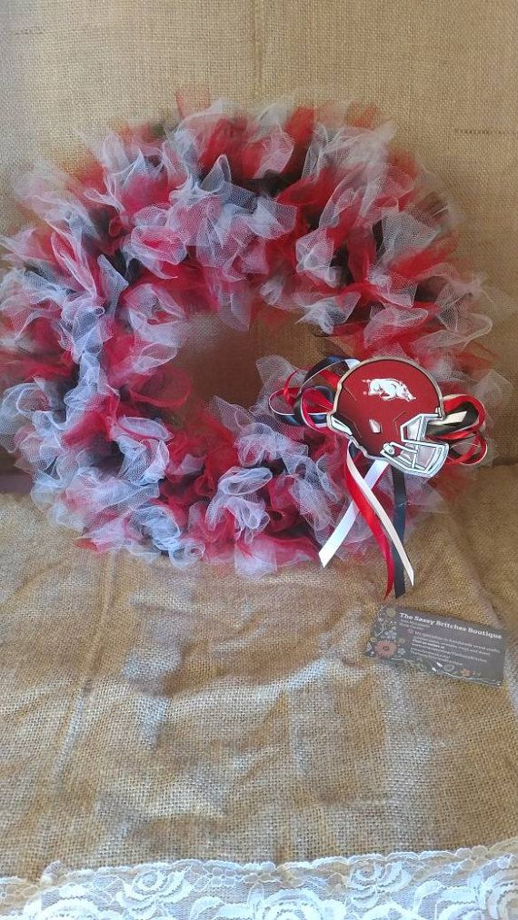 Razorback Tulle Wreath  Check out this item in my Etsy shop https://www.etsy.com/listing/499219748/razorback-tulle-wreath