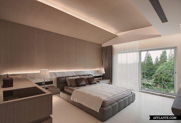 Love the marble headboard in this Duplex Villa In Shanghai // TBDC |