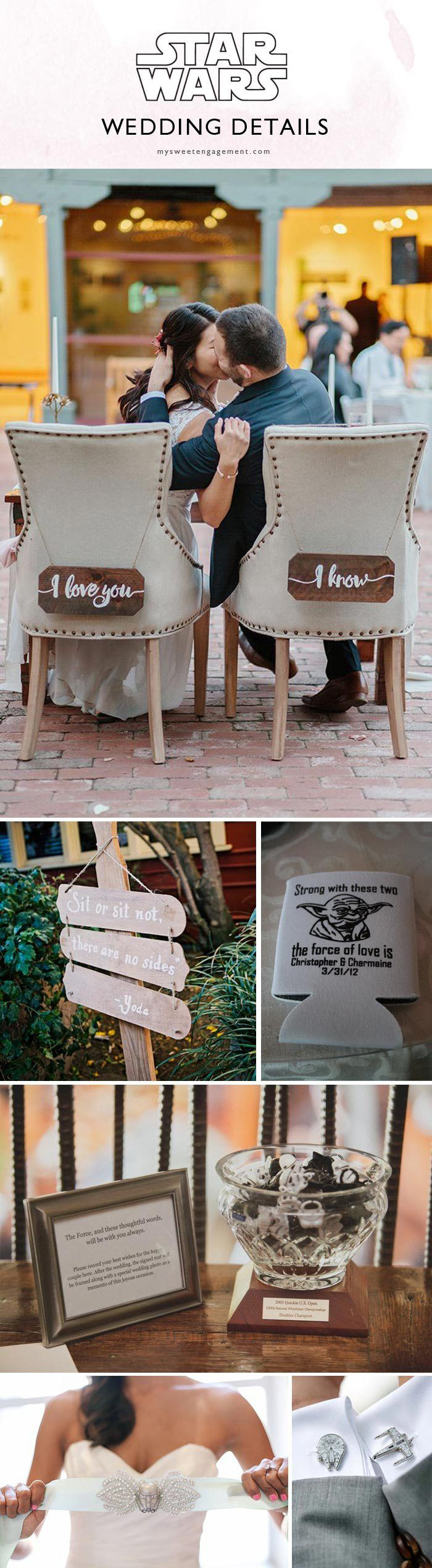 "You're gonna love this Ultimate Guide for an Epic and Elegant #StarWars #Wedding. ""I Love you. I know."" Bride and Groom chair signs, other chair sign couple ideas: Princess + Jedi, Leia + Han. :) Wedding seating sign by Master Yoda. Star Wars wedding favors, guest book, bride and groom accessory details."