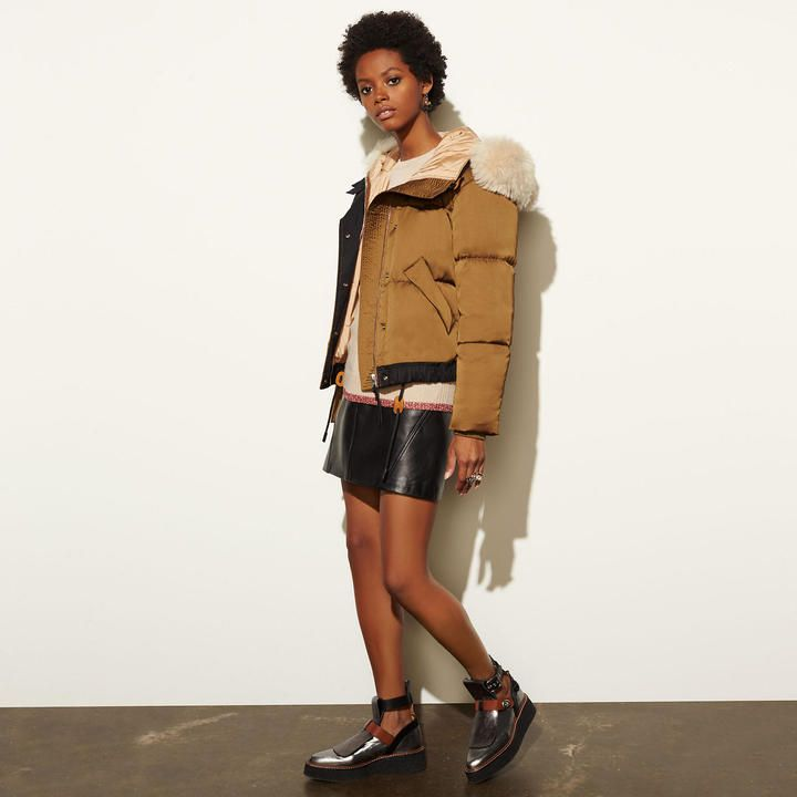 COACH Coach Icon Puffer Jacket With Shearling