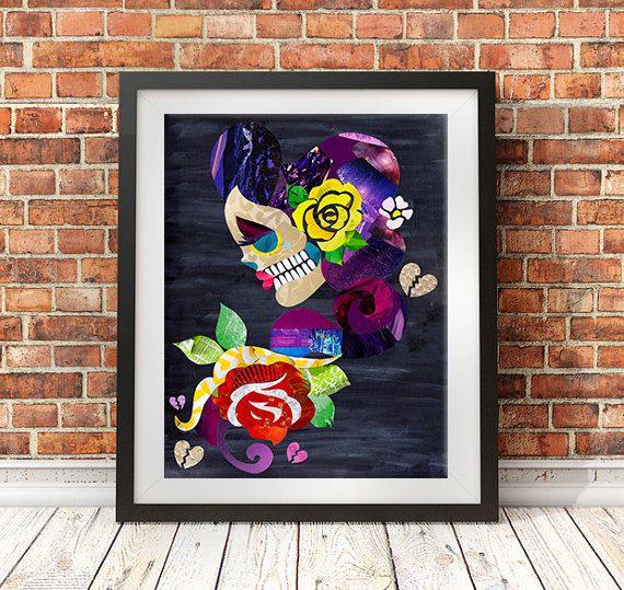 Sugar Skull, Skull wall art print, tattoo inspired art, mixed media collage art, day of the dead, Christmas gift ideas