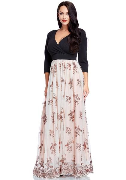 01c9fe72b2e6 Say hello to those spring blooms when you wear this pretty plus size floral  sequin maxi dress.