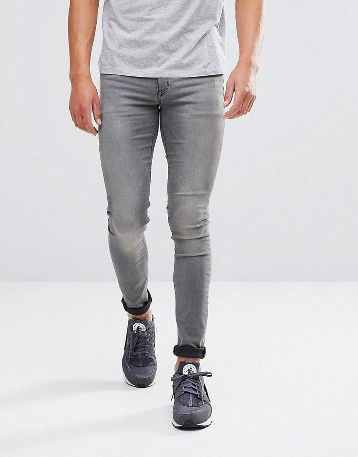 ASOS Extreme Super Skinny Jeans Light Wash Gray - Gray