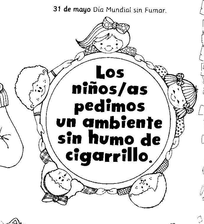 Imágenes Para Niños Del Día Sin Tabaco Con Dibujos Para Colorear Información Imágenes School Activities Environment Activities Ccnn