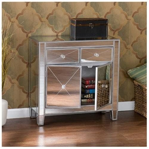 Hamilton+2+Drawer+Cabinet,+Accent+Cabinets,+Silver,+Mirrored,+Rectangular,+Modern,+Manufactured+Wood