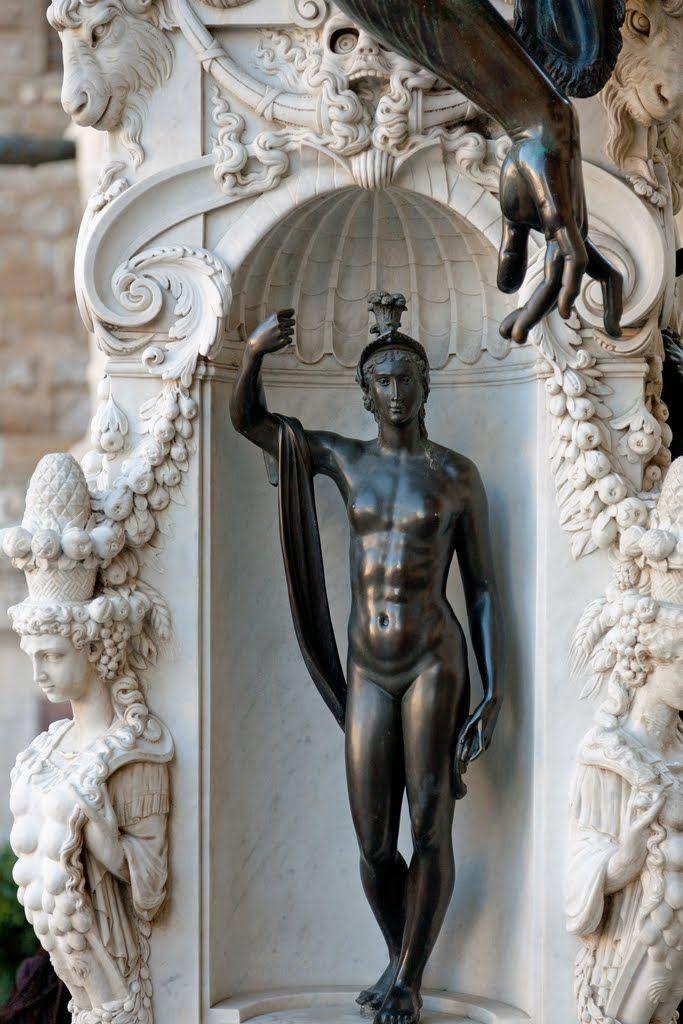 Loggia dei Lanzi: Perseus, The Pedestal Ill. Benvenuto Cellini - Bronze statuette,1545/1554. Loggia dei Lanzi, Firenzi, Italy.