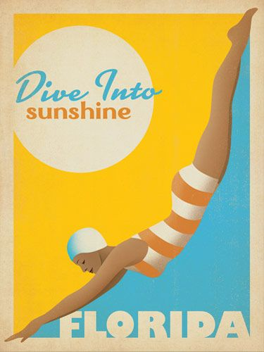 Dive Into Sunshine: Florida - Add a splash of color to any room with this classic sunny print. You  will feel like diving into sunshine every time you look at it. Celebrate Florida. Celebrate vintage illustrated poster art. And celebrate  shapely women in rubber caps!
