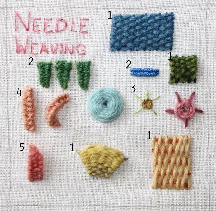 Needle weaving http://theflossbox.blogspot.com/search/label/summer%20stitch%20school
