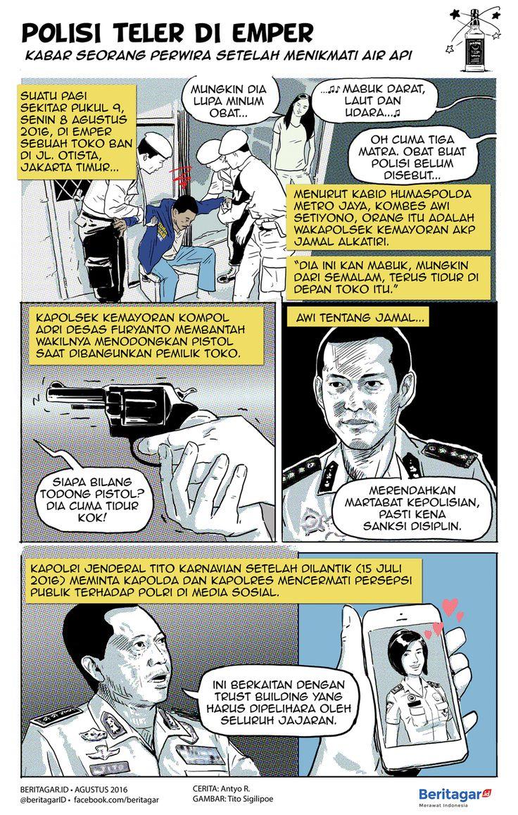 MENCORENG KORPS | Seorang perwira polisi, wakapolsek pula, mabuk lalu tidur di emper toko hingga terang pagi. Saat dibangunkan ia mengeluarkan pistol sehingga bikin jeri orang sekitar. | Catatan Redaksi: komik ini adalah versi revisi