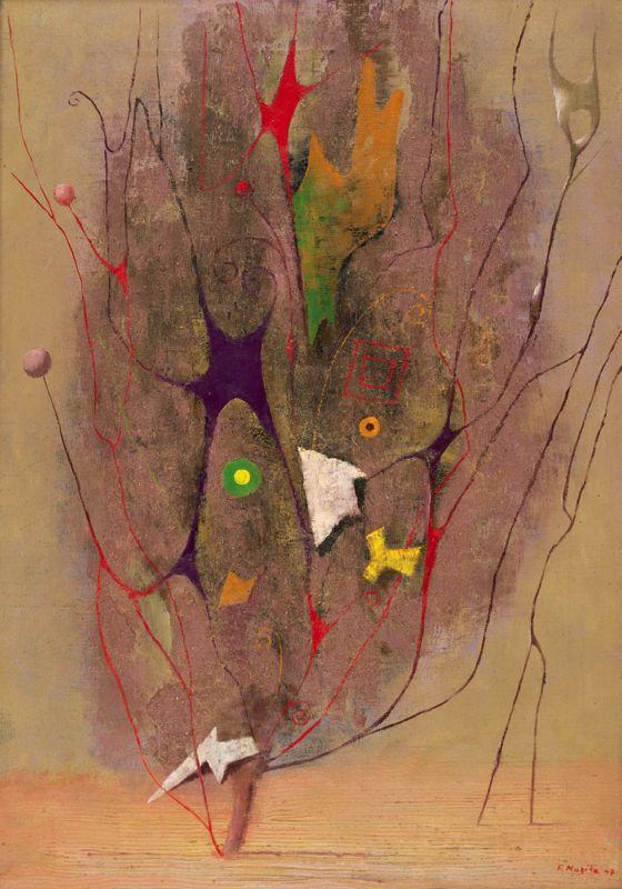 Frantisek Muzika - Tree I in Purple, 1947, oil on canvas, 65 x 45 cm